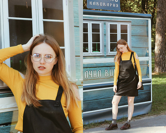 Kristina Magdalina - Rosegal Dress - Leather Dress And How To Wear Yellow
