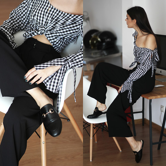 CLAUDIA Holynights - Zaful Gingham Top, Na Kd Pants, Missy Empire Mules - The beginning of fall