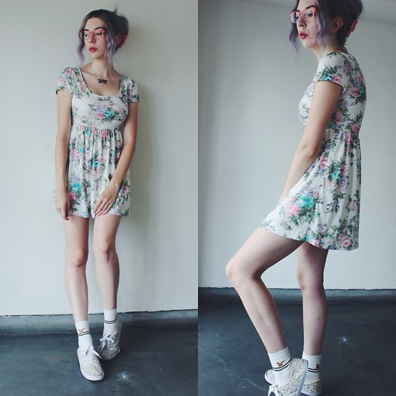 Candy Thorne - Thrifted Floral Dress, Korean Market Eevee Socks - Hidden Eevee