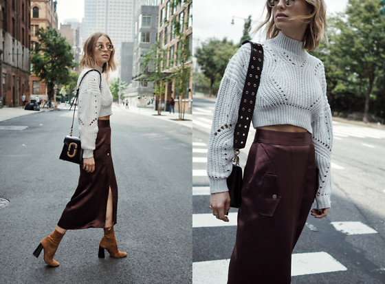 Jillian Lansky - Aritzia Cropped Sweater, Dion Lee Silk Skirt, Marc Jacobs Black Bag - NYFW DAY 1