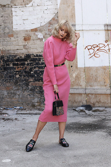 Ana Vukosavljevic - Vintage Dress, Vintage Belt, Zaful Bag, Ego Shoes - Reinventing Pink For Autumn
