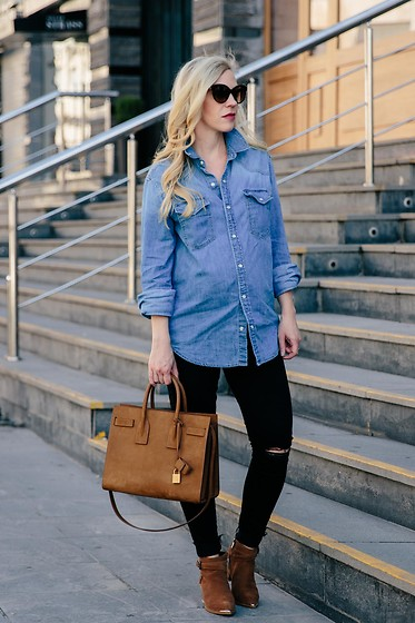 Meagan Brandon - Oversized Denim Shirt, Mother Maternity Jeans, Similar Saint Laurent Tote, Suede Boots - Western Meets Edgy
