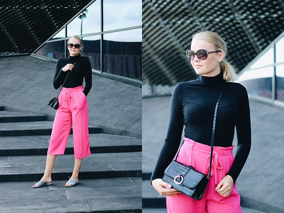 Paulina Dworakowska - Zara Turtleneck, Primark Bag, Zara Pants, New Look Slippers, Fendi Sunglasses - Fendi sunnies & Pink pants