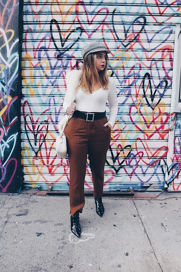Bernadette - Zara Chestnut Trousers, Zara Lace Up Patent Leather Booties - #nyfw