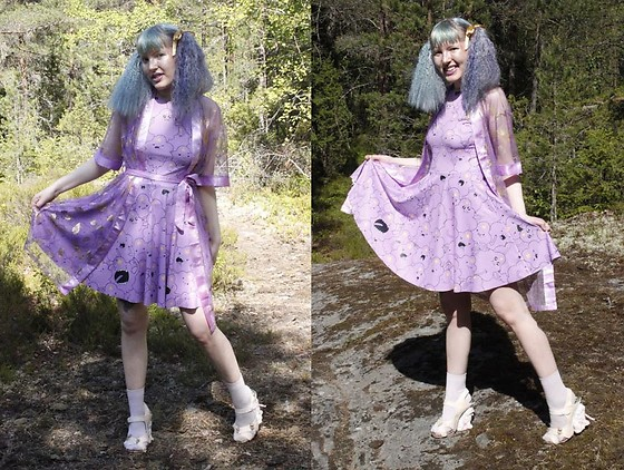 Lindwormmm - Black Milk Clothing Lumpy Space Princess Skater Dress, Kitty Heels, Thrifted Dressing Gown - Royal Purple and Summer Gold