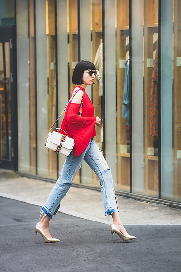 Samantha Mariko - Zerouv Sunglasses, Style Mafia Blouse, Julia Kays Bag, Zara Jeans, Zara Heels - Bright fall colors