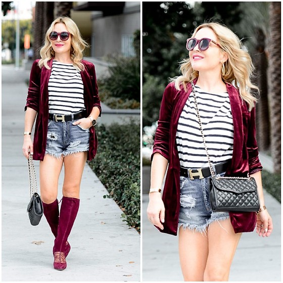 Zia Domic - J.Crew Striped Top, Pour La Victoire Suede Boots, Zara Denim Shorts - Velvet & Stripes