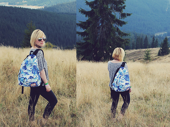 Anca Varsandan - Rosegal Backpack, H&M Choker, Primark Jeans, Primark Top, H&M Sunglasses - Into Nature