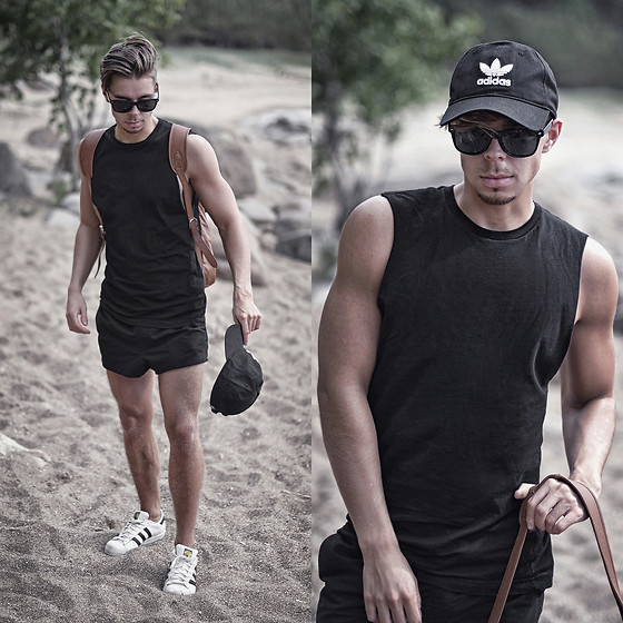 Edgar - Adidas White Superstar Sneakers, Adidas Black Originals Cap, Asos Black Swim Shorts, H&M Black Sleeveless Top, Asos Brown Leather Backpack, Asos Black Sunglasses - VACATION STYLE