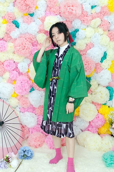 Flosmoony - Dottori Vintage Haori, Dottori Vintage Patterned Dress - Green ?