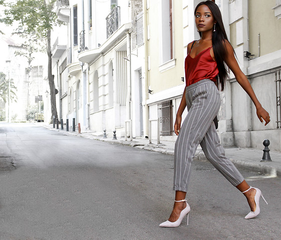 Rachel O. - Wear Me Silk Top, Wear Me Pinstripe Cropped Trousers, Bozikis Ankle Strap, Forever 21 Drop Earrings - 5 Ways to Feel More Confident With Your Style