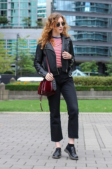 Summer R - Ray Ban Sunglasses Round, Zara Black Faux Leather Biker Jacket, Cotton Red And White Stripe Breton Tee, Soft Burgundy Draw String Bucket Bag - The Casual Uniform