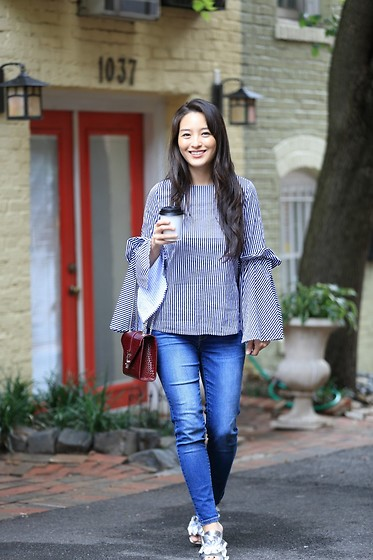 Kimberly Kong - Chicwish Blouse, Stitch Fix Skinny Jeans, Ysl Crossbody Bag - Rocking Bell Sleeves on the Regular