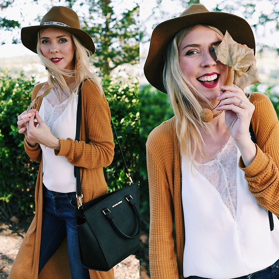 Zuzana - Forever 21 Olive Hat, Romwe White Silky Lace Tank Top, Forever 21 Mustard Yellow Cardigan, Michael Kors Selma Handbag - GOODBYE SUMMER, HELLO FALL! ??☕