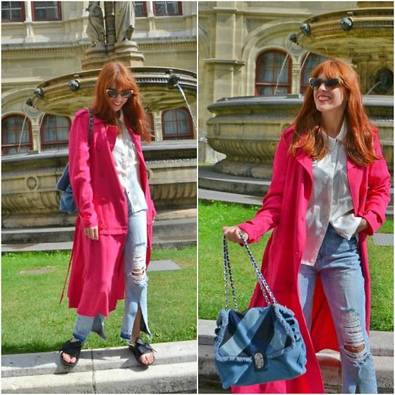 Mi Vida En Rojo - Zara Trench, H&M Shirt, Parfois Bag, Zara Jeans, Zara Shoes - Pink Trench