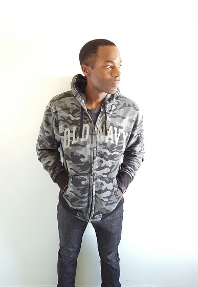 Thomas G - Old Navy Camouflage Hoodie, Levi's® 511 Strauss & Co, Cross Bracelet, Facebook - Old Navy + Levis 511 Strauss & Co