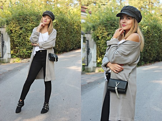 Sabina S. -  - GREY CARDIGAN and BAKER BOY CAP