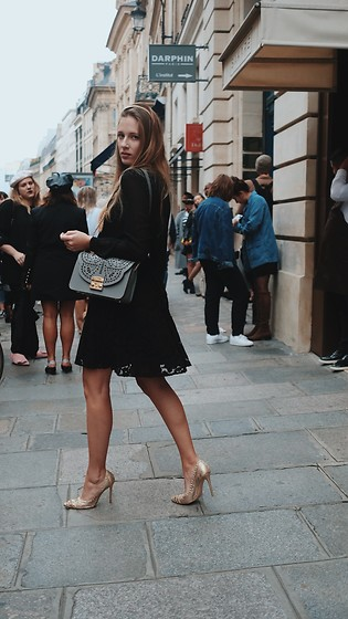 Anna Katina - Furla Bag, Michael Kors Black Dress, Gianvito Rossi Golden Heels - Paris Fashion Week Look 1