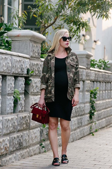 Meagan Brandon - Camo Jacket (Under $40), Maternity Dress, Similar Saint Laurent Bag, Gucci Slides - 3 Ways to Make Camo Print Look Elegant