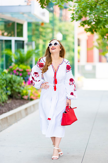 Ashley Hutchinson - Shein Floral Embroidery Dress, Asos White Sandals, Fendi Red Leather Bag - Ukranian Floral Dress