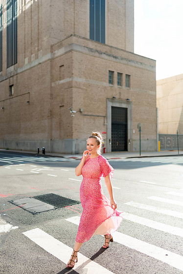 Ashley Hutchinson - L.K. Bennett Pink Midi Dress, Valentino Tan City Sandals - NYFW || Pretty in Pink