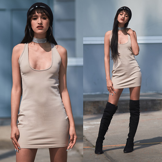 Andrea Chavez - Luma Voga Nude Dress, Gamiss Over The Knee Boots - Kim Kardashian Dress