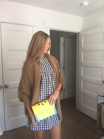 Cindy Batchelor - Amazon Check Dress, Tan Cardigan $20, Amazon Yellow Lemon Handbag $21, Amazon Checkered Dress - Check Dress, Tan Cardigan, and Yellow Lemon Handbag
