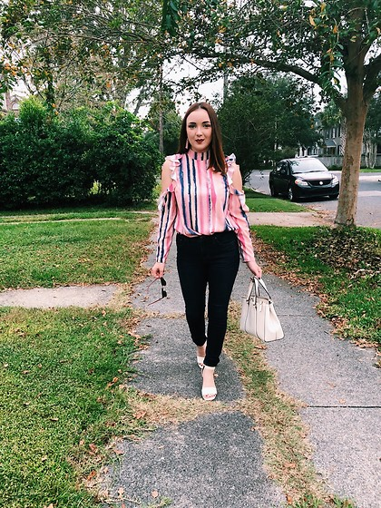 Cadyn Scott - Asos Cold Shoulder Pink Striped Blouse, Madewell High Rise Skinny Jeans, Asos Cream Wooden Block Heels, Kate Spade Cream Handbag, Baublebar Pink Tassel Statement Earrings - I used to get the coldest shoulders