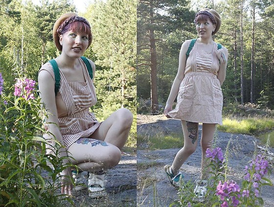 Lindwormmm - Thrifted Striped Apron, Thrifted 2000s Teddy Backpack, Jeremy Scott Adidas Bone Sneakers, Thrifted Brown Beret - Adventure Sunset