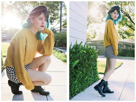 Nancy Qian - H&M Yellow Sweater, Checkered Skirt, Madewell Combat Boots, Free People Black Beret - 90s nostalgia