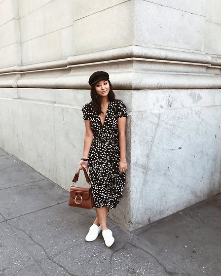 Tiffany Wang - Reformation Dress, Brixton Newsboy Cap, J.W. Anderson Purse, Common Projects Sneakers - DAISIES