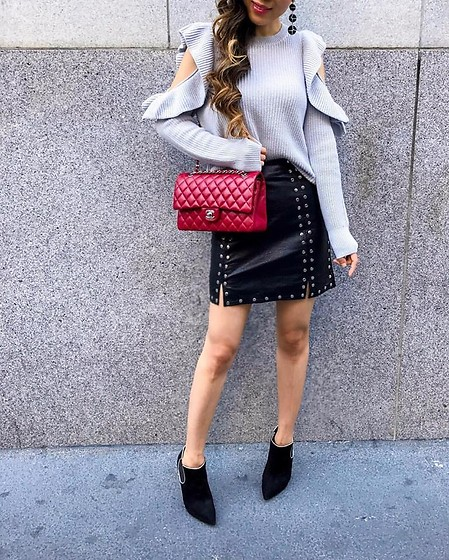 Sasa Zoe - Ruffle Sweater, Skirt, Earrings, Bag, Booties - RUFFLED AND STUDDED