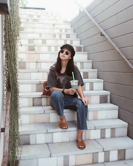 Tiffany Wang - Schutz Mules, Reformation Jeans, Vintage Tee, Brixton Newsboy Cap, Jw Anderson Purse - THAT LA LIFE