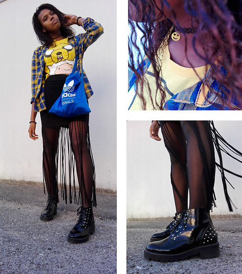 Yara Snow'z - Forever 21 Smile Choker, Bershka Black Leather Boots, New Yorker Black Ripped Skirt, Zara Blue And Yellow Checkered Shirt, Adidas Blue Bag - Ripped Skirt, Yellow shirt