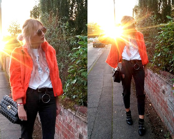 Joanna L - Mohito Fur Jacket, Moschino Bag, Primark O Ring Belt, Primark Boots - Orange faux fur jacket/ o-ring belt