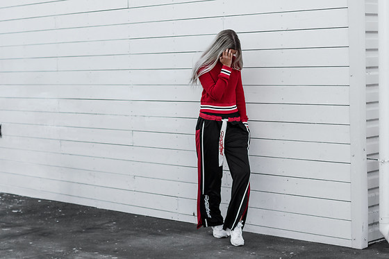 Krist Elle - Pants, Red Sweater - How to wear red crop sweater
