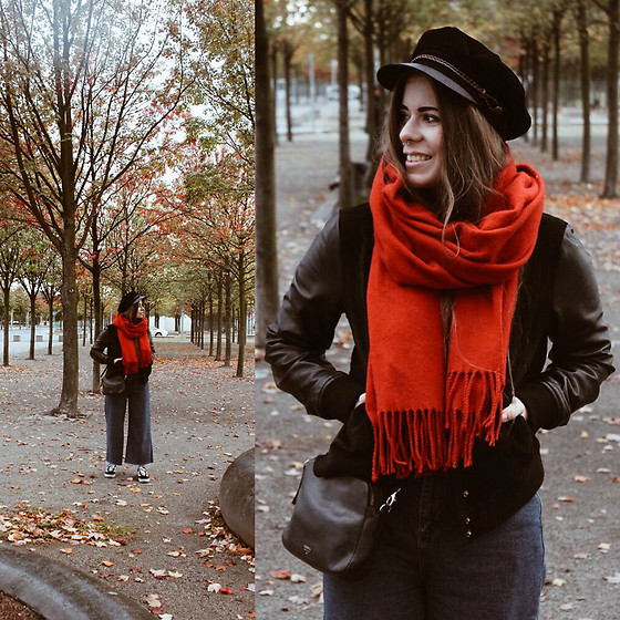 Elaine Hennings - Urban Outfitters Scarf, Brixton Baker Boy Hat, Fossil Bag, Mango Bomber Jacket, Urban Outfitters Flood Jeans, Vans Sneakers - Let Fall Begin