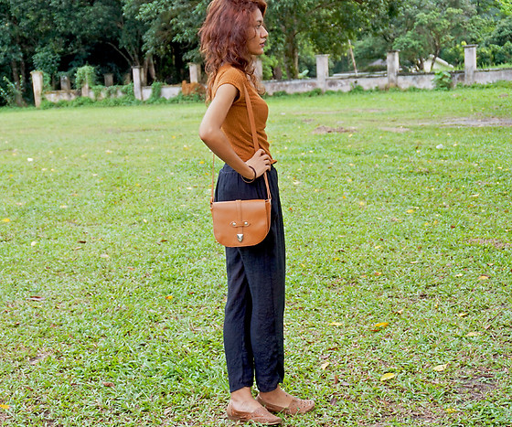 Shanaz AL - Brown Mini Dress, Brown Sling Bag, Brown Boat Shoes, Black Paperbag Pants - Loco For Cocoa
