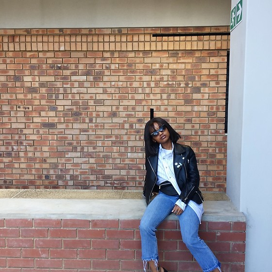 Reneilwe Masekoameng - Topshop Leather Jacket, H&M Fanny Pack, Factorie Cropped High Waist Denim - Quarter to biker