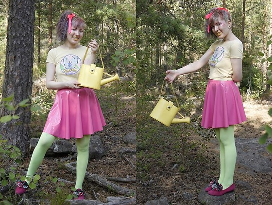 Lindwormmm - Charity Shop Yellow Watering Can Bag, Black Milk Clothing Pink Pvc Skirt, Thrifted Pink Shoes, Second Hand Butterfree Evolution T Shirt, Old Neon Tights, Pink Ribbon - Watering Forest... in Pink!