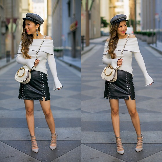 Sasa Zoe - On Sale Top, Skirt, Hat, Earrings, Bag, Heels - BELL AND STUDDED