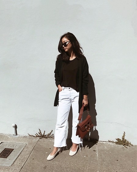 Tiffany Wang - Everlane Heels, Levi's® Jeans, Cos Cardigan, J.W. Anderson Purse, Le Specs Sunglasses - RUNNING ERRANDS