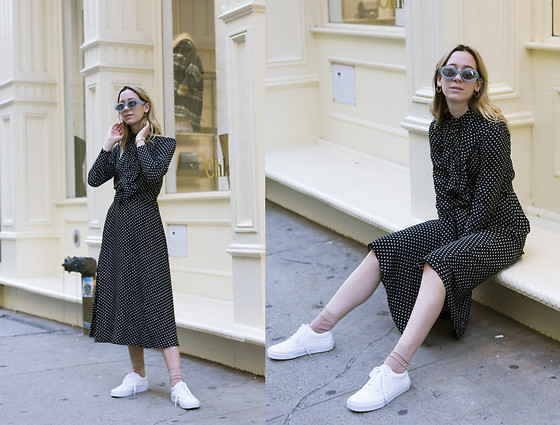 Gabrielle Lacasse - & Other Stories Long Sleeve Dress, Vans White - Man repelling in Soho