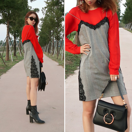 Rekay Style - &Other Stories Red Knit Top, Zara Check Slip Dress, Jw Anderson Pierce Bag, Ankle Boots - Red & Check
