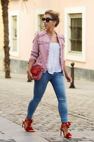 Mara M - Jacket, Zara Bag - Red tweed