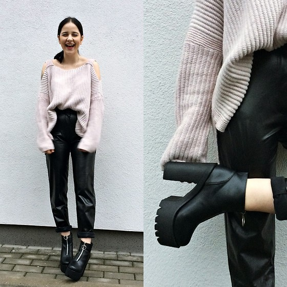 Natalia Pawlik - New Look Sweater, Blancheporte Pants, Fashion71 Shoes - MOM LEATHER