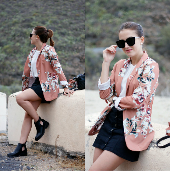 Carolina González Toledo - Monglam Sunglasses, Zaful Blazer, Daniel Wellington Watch, Stradivarius Skirt, Zara Booties - Blazer de flores