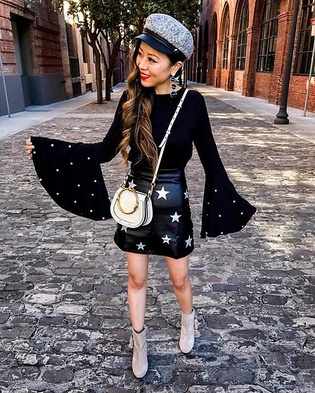 Sasa Zoe - Less Than $20 Pearl Top, Less Than $20 Skirt, Tassel Booties, Earrings, Bag - PEARLS AND STARS