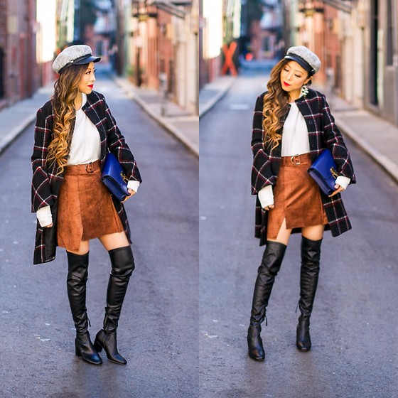 Sasa Zoe - Coat, Top, Skirt, Cap, Earrings, Boots, Bag - MAD FOR PLAID