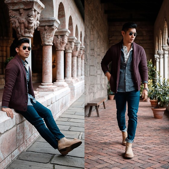 Leo Chan - Express Shawl Cardigan, Express Waffle Texture Henley, Express Soft Wash Garment Dyed Oxford Shirt - Essential Fall Casual Layering